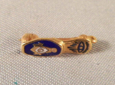 Vintage 14K Yellow Gold Enameled Masonic Slipper Pin