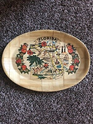 commemorative plate florida state bamboo antique collectible