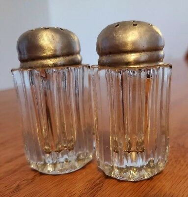 Vintage salt and pepper shakers Round Ribbed  Glass with Metal Aluminum lid