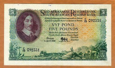 South Africa, 5 Pounds, 1952, P-97a, VF+ > 65 years old