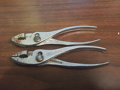 lot of 2 - Diamond Duluth K36 Slip Joint Pliers *Made in USA horseshoe 2 pc
