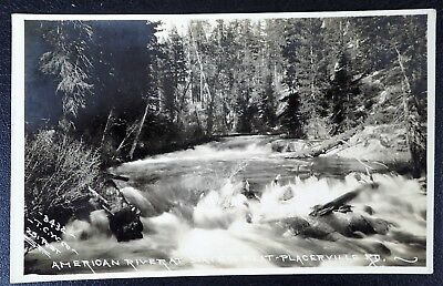 American River At Sayes Flat Placerville Rd Rppc Real Photo Postcard
