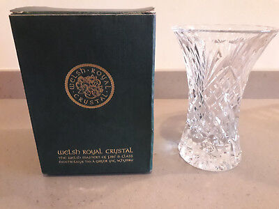 Royal Welsh Crystal Hand Crafted Posy Vase Caernarfon Design 13cm