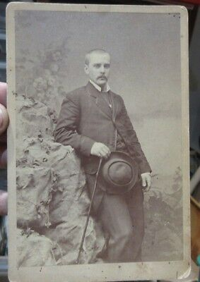 1890s Antique Old Cabinet Photo Picture Columbus Ohio Handsome Man with Hat Cane