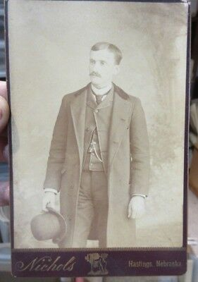 1890s Antique Old Cabinet Photo Picture Hastings Nebraska Man with Hat Overcoat