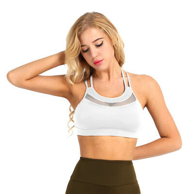 Women Padded Cup Low Impact Mesh Wireless Cross back Gym Active Sports Bra White