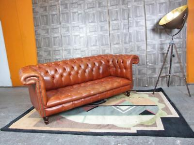 Chesterfield Sofa In Luxury Vintage Distressed Antique Chestnut Brown leather