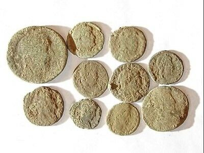 10 ANCIENT ROMAN COINS AE3 - Uncleaned and As Found! - Unique Lot 34411