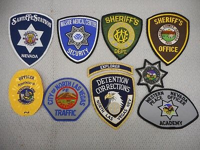 9 different Nevada police & security department patches - free shipping