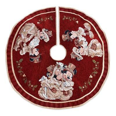 NWT Disney Parks Mickey and Minnie Mouse Victorian Christmas Tree Skirt Red Gold