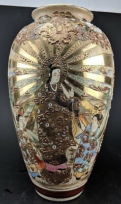 Antique 19c.  Japanese Meiji Period Satsuma Enameled Vase