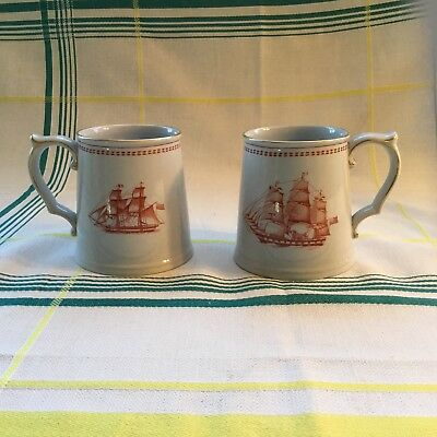Spode Trade Winds Pair Of Tankard Mugs Exc Vintage