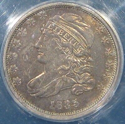 1835 10c US Old Silver Capped Bust Dime Coin ANACS AU-50