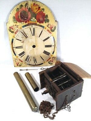 Antique Clock Parts Face Plate Weights Arms Box W/Gears Brass 1880 to 1905 ???