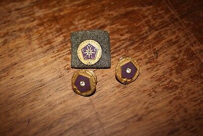 3 Gold Diamond Masonic Pins Y C L C  C york right Masons