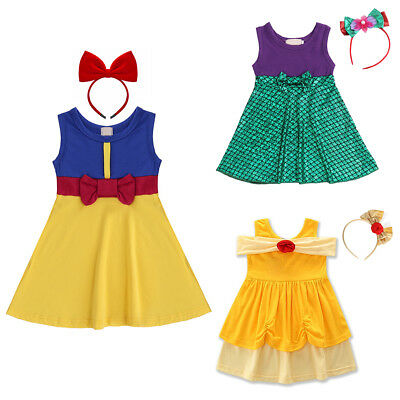 Kid Girls Snow White Belle Princess Fancy Dress Up Cosplay Party Costume Outfits