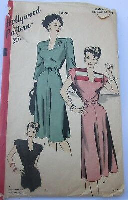 Vintage 1940's Hollywood 1896 – One-Piece Dress – Size 14
