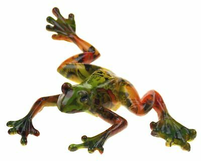 """Frog Figurine Polystone Multi Color Wall Hanging or Table Top Decor 7.75"""" Large"""