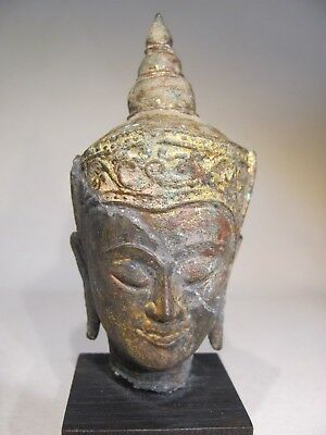 Mounted Antique Ayuthia / Ayutthaya Period Bronze Buddha Head from Thailand