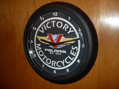 Victory Motorcycle Logo Garage Advertising Man Cave Wall Clock Sign