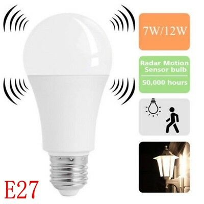 E27 Radar Sensor Ambient PIR Motion 7/12W LED Globe Bulb Light Lamp Practical BS