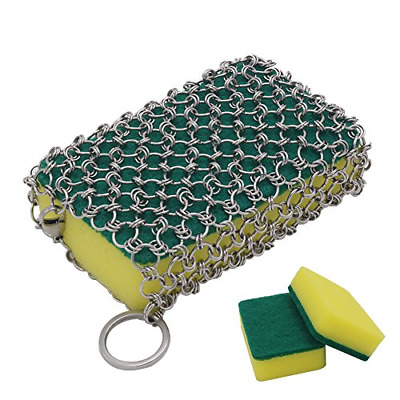 Cast Iron Cleaner, Stainless Steel Chainmail Scrubber with 3pcs Sponges for Pre