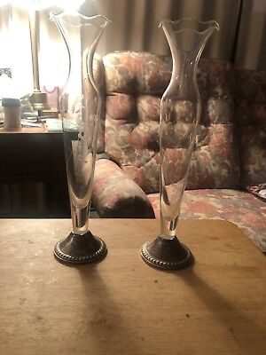 """2 Duchin Creation Bud Vase Sterling Silver Weighted Base  Etched Glass 10"""" HIGH"""