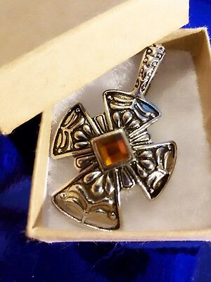 Vintage Silver tone Maltese Celtic Iron CROSS with AMBER glass pendant