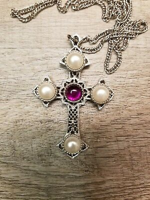 Vintage SARAHCOV Silver and Pearl Cross Pendant Necklace with Original Chain