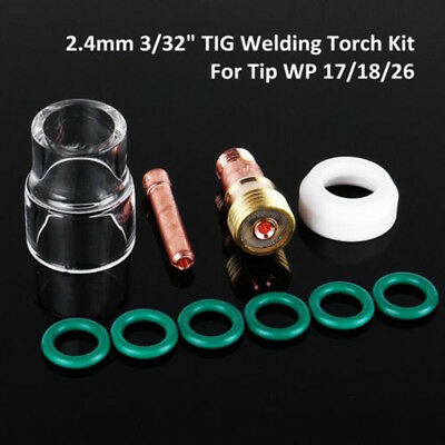 #10x TIG Welding Torch Stubby Gas-Lens #12 Pyrex Cup Kit For WP-17/18/26 2/32''