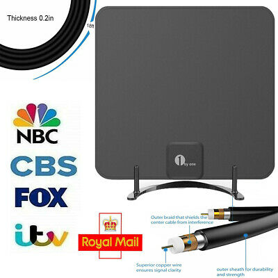1byone Indoor Amplified HDTV Aerial - Paper Thin Digital TV Antenna Amplifier UK
