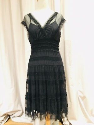 Sequin Embroidered Smocked Mesh Dress With Slip NWT S/M