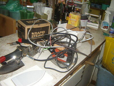 4 Rapid Steam or Kyoto Type steam iron for parts or repair + new shoe