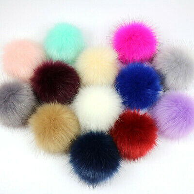 2x 8cm Faux Fake Fur Hair Ball Fluffy Pompom Pendant For Hat Bag Shoes Caps Cute