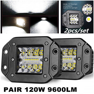 2pcs 5Inch 240W CREE LED Flood Work Light Pods Flush Mount Offroad Driving Lamps