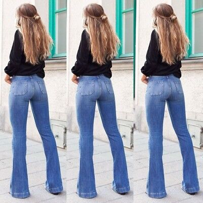 Women Denim Bootcut Trousers Stretched Skinny Ribbed Flares Bottoms Pants Jeans