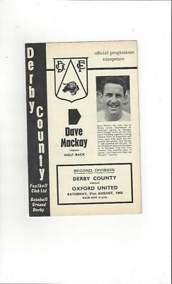 Derby County v Oxford United 1968/69 Football Programme