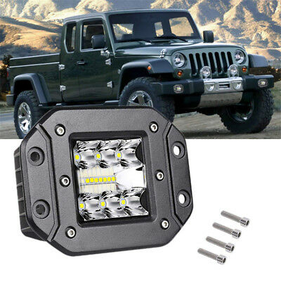 2x 5Inch 240W CREE LED Work Light Pods Flush Mount Flood Off-Road SUV Car Lamps