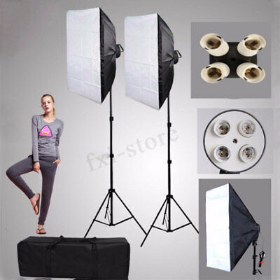2Pcs Photography Photo Studio Kit Lighting Softbox 50*70 +4 in1 E27 Socket