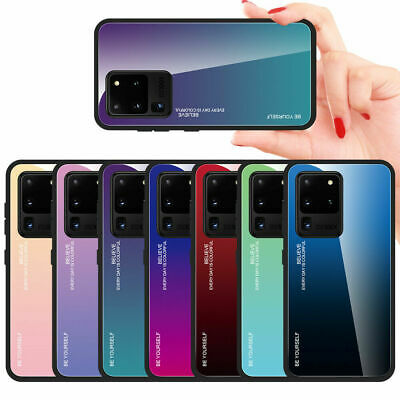 For Samsung Galaxy S8 S9 Plus Note 9 8 Gradient Tempered Glass Hard Case Cover