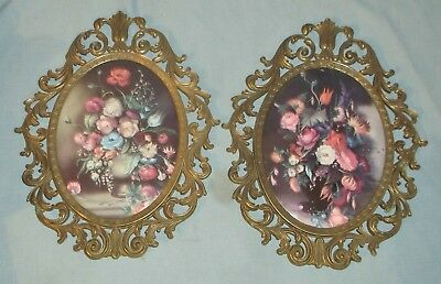 Vintage Pair of Brass Frame Bubble Glass Flower Floral Pictures Made In Italy