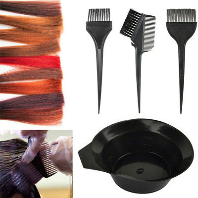 4X Hairdressing Hair Color Dye Bowl Comb Brushes Tool Set Tint Coloring Kit #AM8