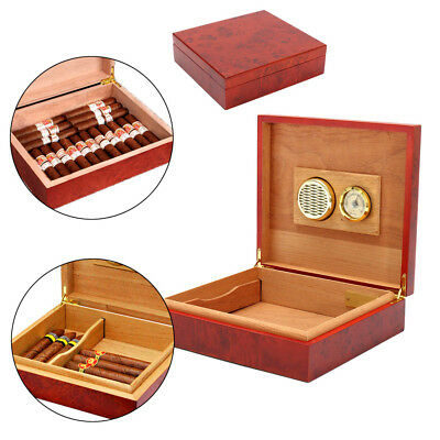 AU 20 Count Cedar Wooden Lined Cigar Humidor Humidifier Hygrometer Case Box