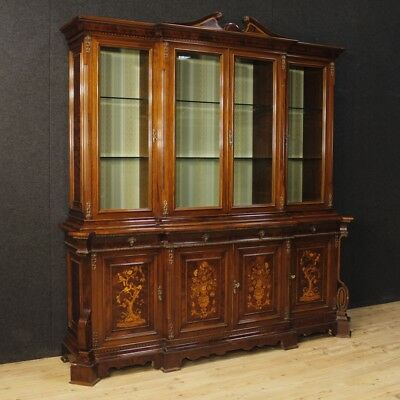 Bookcase showcase Italian furniture sideboard wood inlaid antique style 900