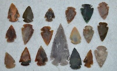 "19 PC Flint Arrowhead Ohio Collection Points 1-3"" Spear Bow Stone Hunting 2534"