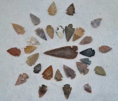 "29 PC Flint Arrowhead Ohio Collection Points 1-3"" Spear Bow Stone Hunting 2533"