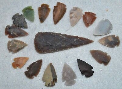 "17 PC Flint Arrowhead Ohio Collection Points 1-3"" Spear Bow Stone Hunting 2531"