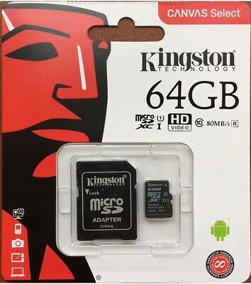 Kingston MicroSD 64GB SDXC Samsung Memory Card Micro sd TF Mobile Phone Class 10