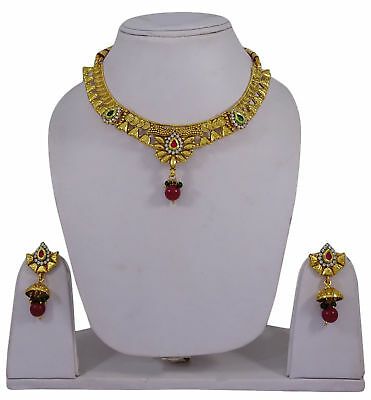 Bridal & Wedding Party Jewelry Jewelry & Watches Goldtone Traditional 2pc Choker Necklace Earring Set Ethnic Wedding Jewellery