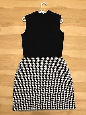 St John By Marie Gray Sleeveless Dress Ribbed Top/ Houndstooth Skirt 10
